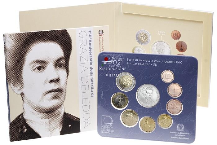 La confezione speciale in cui MEF e IPZS propongono la serie divisionale di monete italiane fior di conio 2021 con la moneta in argento dedicata al Premio Nobel Grazia Deledda
