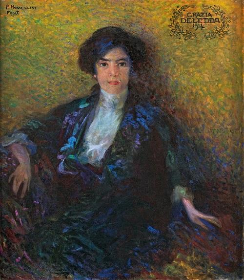 Un bellissimo ritratto di Grazia Deledda realizzato dal grande pittore Plinio Nomellini nel 1914