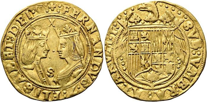 """Doppio """"excellente"""" senza data coniato dalla zecca spagnola di Siviglia: al peso di circa 6,94 grammi, divenne una delle monete d'oro europee più diffuse e apprezzate XV e XVI secolo"""