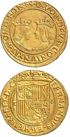 """Un """"excellente"""" (ducato d'oro) a nome di Ferdinando d'Aragona e Isabella di Castiglia, i """"Re cattolici"""""""