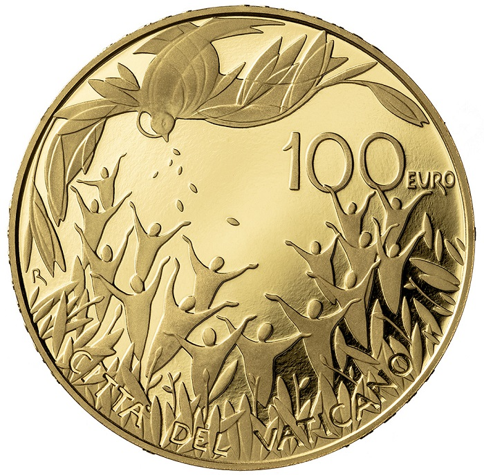 """Ariosa, moderna e lieve, la modellazione di Mariangela Crisciotti esalta la """"Gaudium et Spes"""", Costituzione apostolica a cui è dedicata la 100 euro in oro proof 2021"""