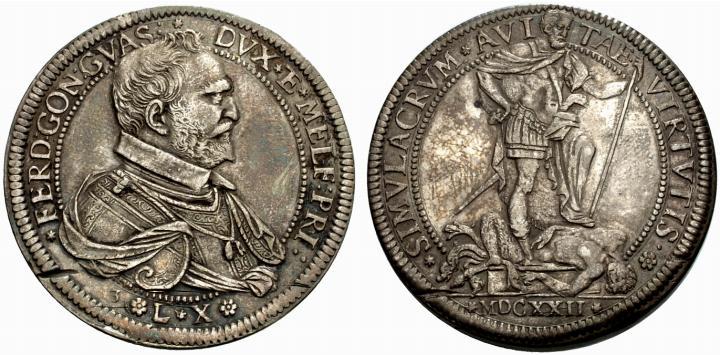 """Il magnifico ed estremamente raro ducatone in argento del 1622 che celebra un """"passo in avanti"""" nella dinastia dei Gonzaga di Guastalla, passati da conti a duchi per volere imperiale"""