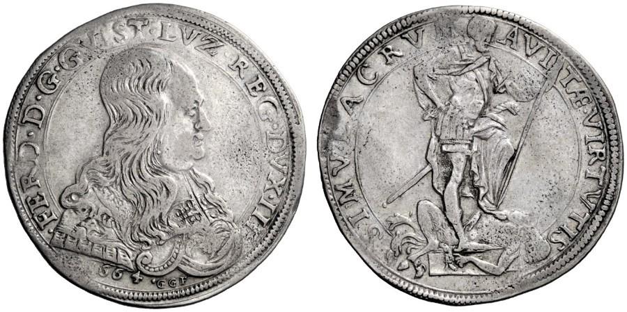 Ferdinando III Gonzaga (1632-1678) Scudo da 7 lire del 1664 che ripropone il monumento che ancora oggi si puà ammirare al centro di Piazza Giuseppe Mazzini a Guastalla