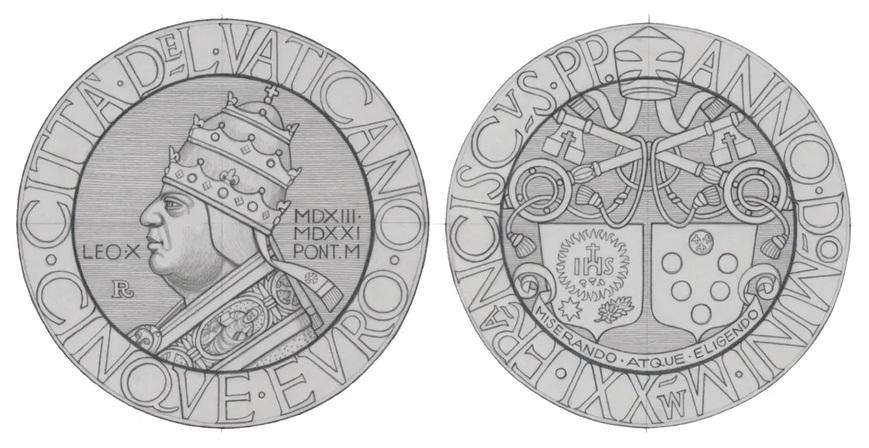 Bozzetti preliminari della moneta vaticana da 5 euro firmata dal maestro Marco Ventura e dedicata a papa Leone X (1513-1521) nel quinto centenario della scomparsa