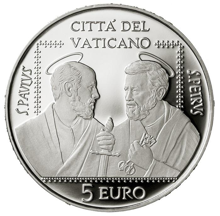 La mite forza della fede cristiana si riflette nei volti dei santi Pietro e Paolo modellati da Patrizio Daniele per i 5 euro in argento proof della Zecca del Vaticano emessi il 25 giugno scorso