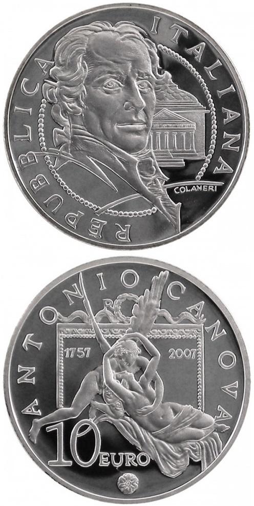 Fra le monete dedicate al Canova, la magnifica 10 euro d'Italia del 2007, in argento proof, modellata da Maria Carmela Colaneri