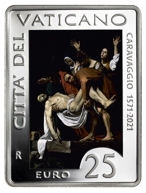 """E' suggestiva e ben riprodotta, indubbiamente, la """"Deposizione"""" di Caravaggio oggi ai Musei Vaticani che, incorniciata d'argento, domina il rovescio della moneta"""