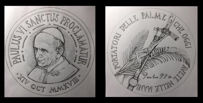 I bozzetti, primo passo nella creazione di ogni moneta o medaglia: qui vediamo quelli realizzati da Loredana Pancotto nel 2018 per la medaglia di canonizzazione di papa Paolo VI celebrata solennemente il 14 ottobre