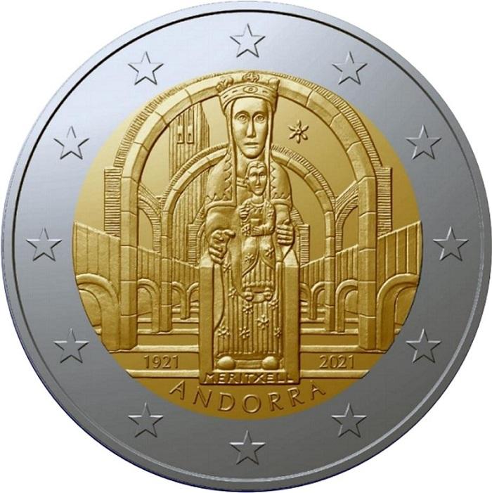 Nostra Signora di Meritxell, patrona di Andorra, come apparirà sulla speciale 2 euro che sarà emessa dopo l'estate