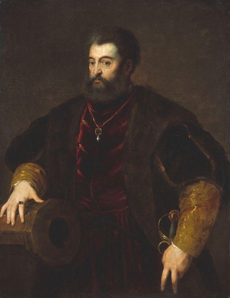Alfonso I d'Este, duca di Ferrara, Modena e Reggio, in una copia del celebre ritratto che per lui dipinse Tiziano
