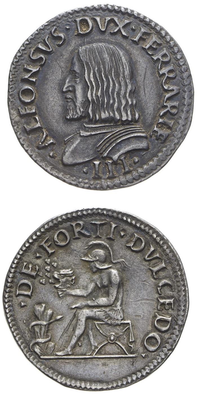 Il testone ferrarese di inizio XVI secolo al motto DE FORTI DVLCEDO con il ritratto ducale barbuto