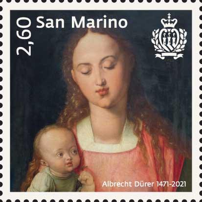I colori e le suggestioni del dipinto di Albrecht Dürer sul francobollo che San Marino gli ha dedicato pochi mesi or sono