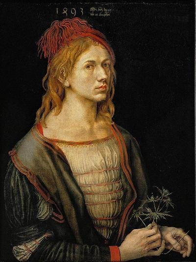 """""""Autoritratto con fiore di eringio"""" di Albrecht Dürer dipinto nel 1493"""