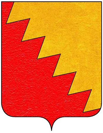 """L'emblema araldico della famiglia Bentivoglio, """"trinciato dentato di oro e di rosso"""", che appare anche sui grossoni e su altre monete della zecca di Bologna tra la seconda metà del XV e l'inizio del XVI secolo"""