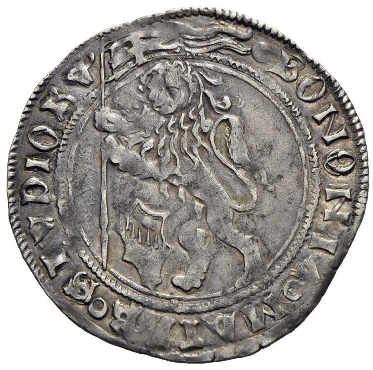 Il dritto del grossone in argento, col leone vessllifero, lo stemma Bentivoglio e la legenda BONONIA MATER STVDIORVUM che allude all'antico ateneo attivo in città fin dal 1088