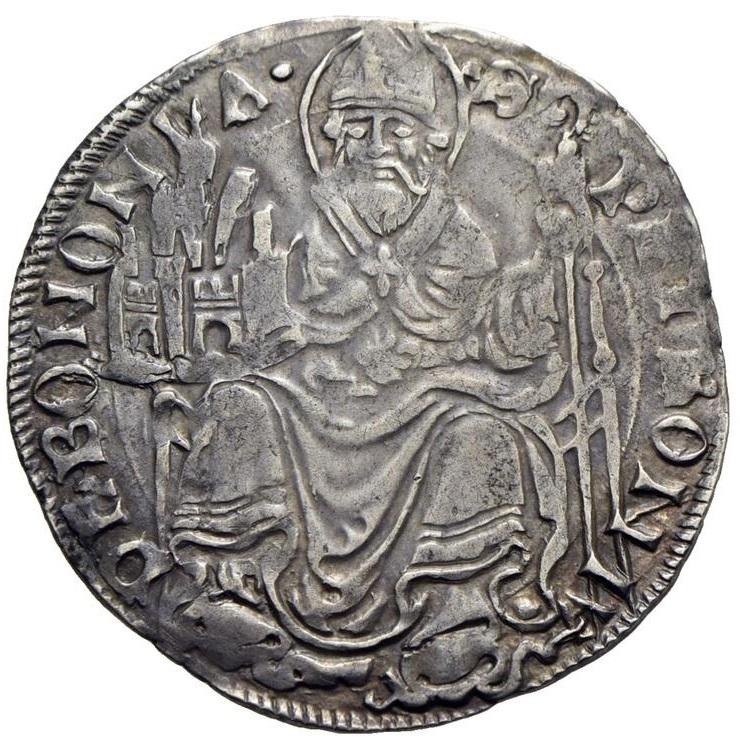 """Il santo Petronio, in abiti vescovili, sorreggeBologna sul rovescio del grossone: di fatto, il patrono rappresenta l'unico """"cenno"""" al potere pontificio e alla sua influenza sulla città"""
