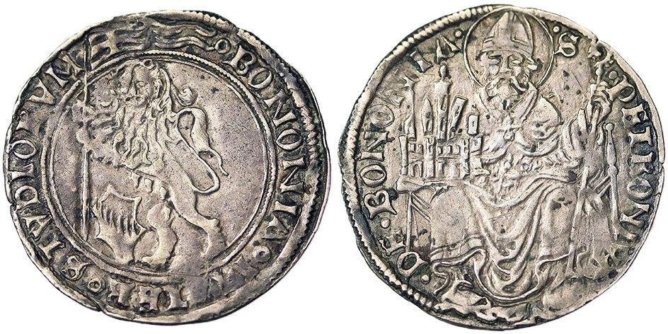"""Un altro esemplare di grossone bolognese in argento su cui, """"protetto"""" dal leone simbolo della città di Bologna, lo stemma di famiglia dei Bentivoglio spicca in modo evidente"""