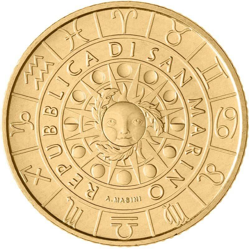 Il sole circondato dalle fasi lunari, dai simboli dello Zodiaco decorato dalle Tre Penne, emblema sammarinese, sul dritto comune alle dodici monete della serie