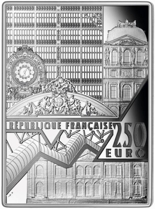 La faccia comune della serie rappresenta una composizione di elementi architettonici di alcuni dei più importanti musei di Parigi