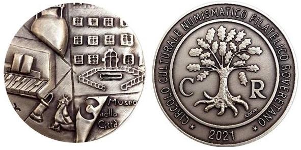 La meadglia del CCFNR di Rovereto per la XXVI Mostra di numismatica, filatelia e cartofilia di Rovereto dell'8-10 ottobre è opera di una giovanissima studentessa d'arte