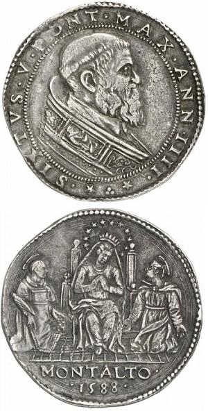 Una rara mezza piastra in argento di Sisto V per Montalto coniata nel 1588