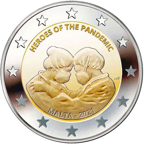 Le due eronie maltesi della pandemia sulla faccia nazionale dei 2 euro emessi lo scorso 2 agosto