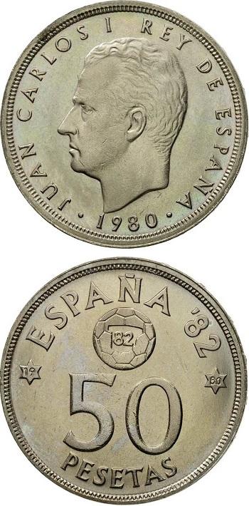 Moneta commemorativa da 50 pesetas del 1980 per il Mundial 1982: anche questi spiccioli sono stati convertibili in euro in Spagna fino al 30 giugno