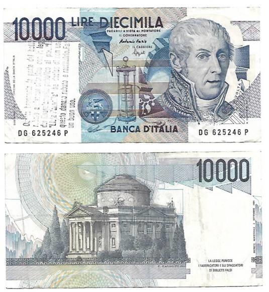 La banconota da 10.000 lire Volta inviataci da un lettore: la stampigliatura al fronte venne effettuata dalla Lista Pannella nel 1997 per restituire ai cittadini il finanziamento pubblico