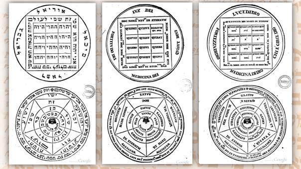 Figg. 2a, 2b, 2c | Disegni della medaglia con iscrizioni in ebraico, latino, italiano