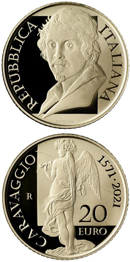 """I coni delle due monete per Caravaggio, qui i 20 euro in oro 900 (mm 21 per g 6,451, il classico """"marengo"""") sono opera di Uliana Pernazza"""