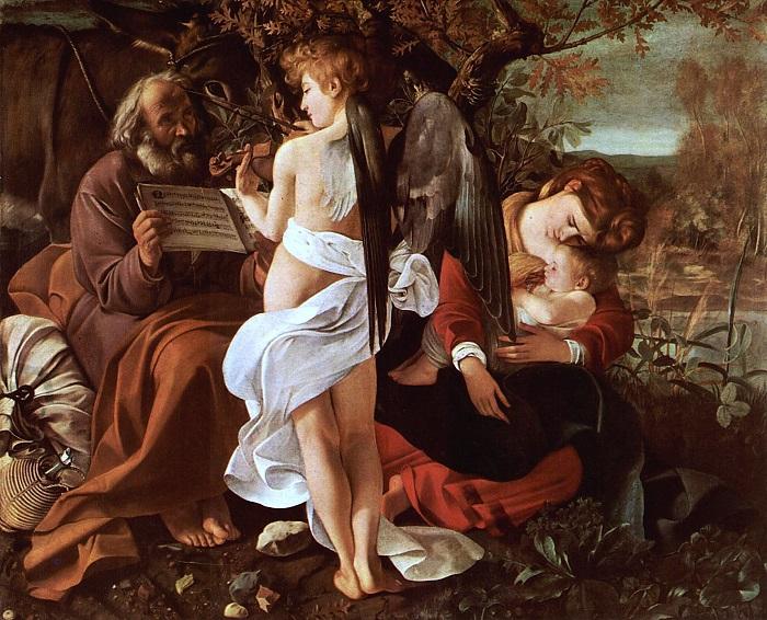 """""""Riposo durante la fuga in Egitto"""": da questa particolarissima opera di Caravaggio è tratto l'angelo suonatore di violino, di spalle, che si è fatto moneta da 5 e 20 euro per mano di Silvia Petrassi"""