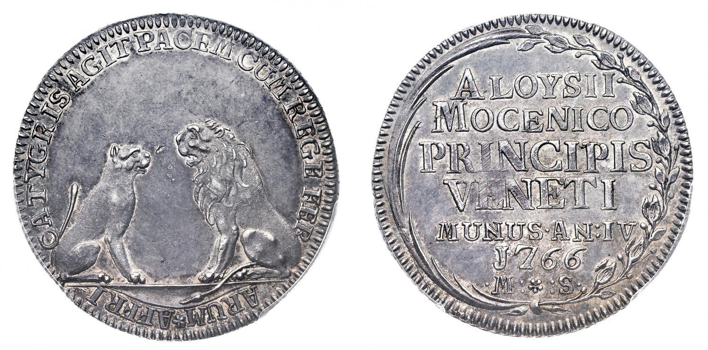 """L'osella in argento del 1766, anno quarto del dogato di Alvise IV Mocenigo, nelle figure della tigre e del leone ricorda gli accordi di """"non aggressione"""" firmati da Venezia con i Bey nordafricani per evitare assalti di pirati alle navi veneziane"""