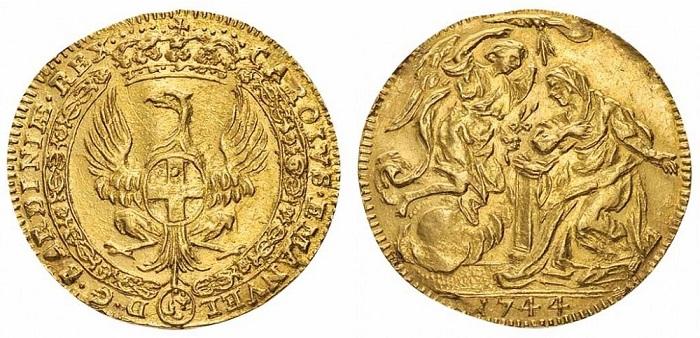 Un bellissimo e raro zecchino in oro coniato nel 1744 dall'officina monetaria di Torino, regnante Carlo Emanuele III, e raffigurante al rovescio la scena dell'Annunciazione