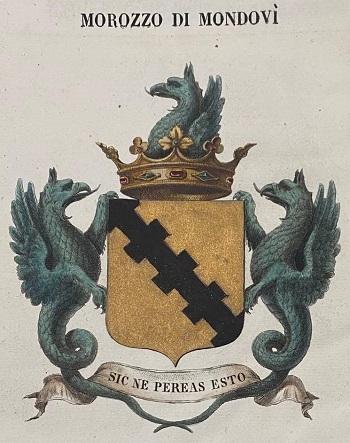 Stemma araldico della famiglia Morozzo, di cui faceva parte quel cavalier Filippo incaricato di esaminare tutte le monete inviate a Torino serbandone esemplari dei tipi mancanti per la raccolta sabauda