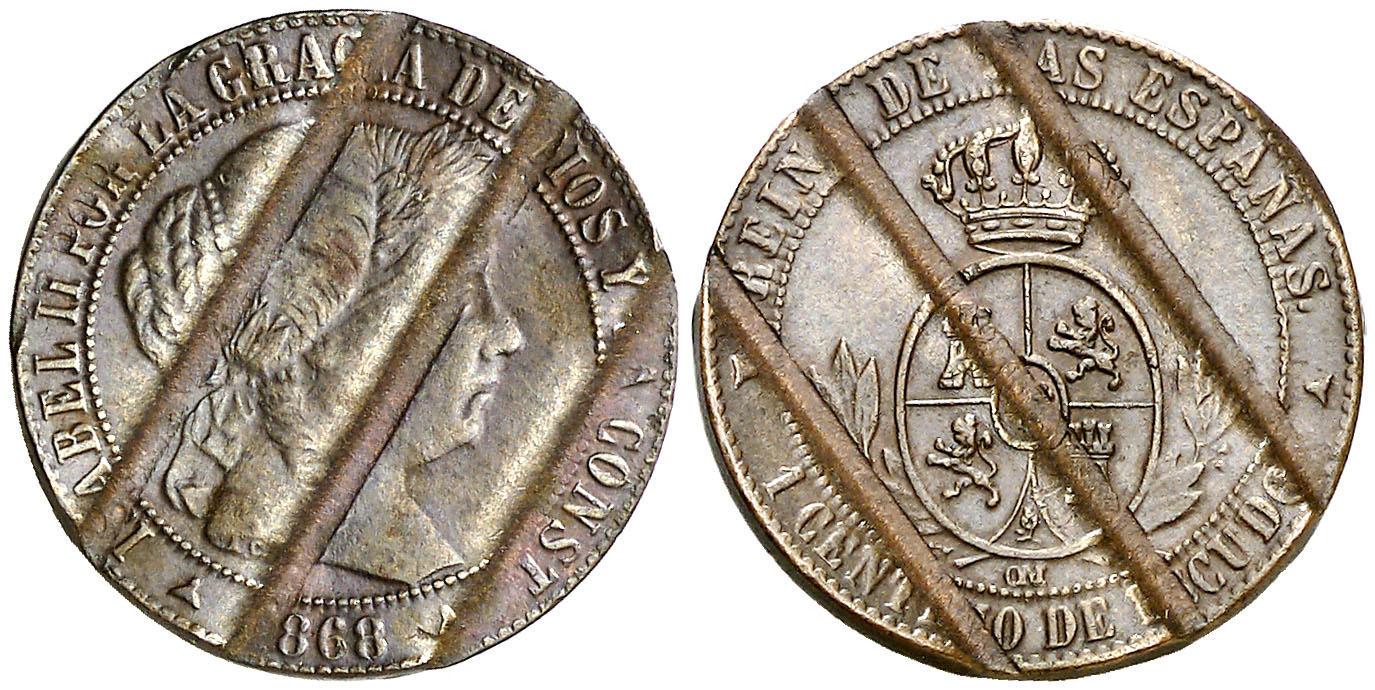 """Moneta da 1 centimo in rame del 1868, anno della rivoluzione in Spagna, coniata a Segovia e """"biffata"""" all'avvento del Governo provvisorio (mm 18, g 2,45 circa)"""
