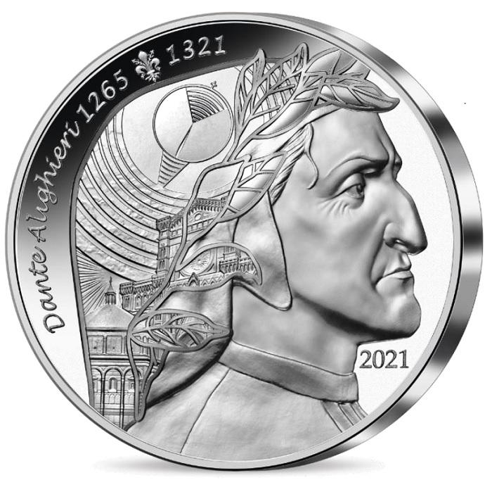 """La cuffia di Dante si trasforma, sulle monete che la Francia gli ha dedicato, in un universo allegorico della sua opera, la """"Divina Commedia"""", e della città di Firenze in cui il Poeta nacque nel 1265 per morire esule a Ravenna nel 1321"""