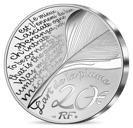 """Celebri citazioni letterarie e una penna d'oca sul dritto comune della serie numismatica """"L'art de la plume"""""""