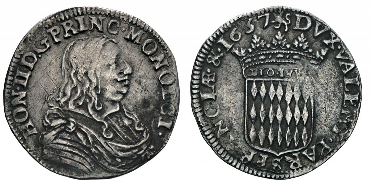 Dodicesimo di scudo (luigino) di Onorato II Grimaldi coniato nel 1657