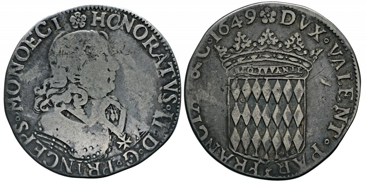 Scudo d'argento sul piede francese coniato dalla zecca di Monaco nel 1649