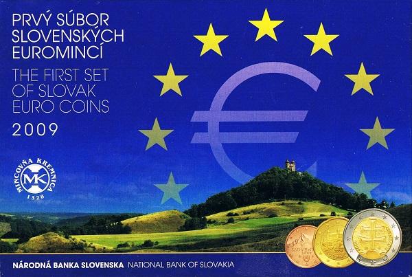 La confezione della prima serie euro della Slovacchia, entrata in circolazione nel 2009