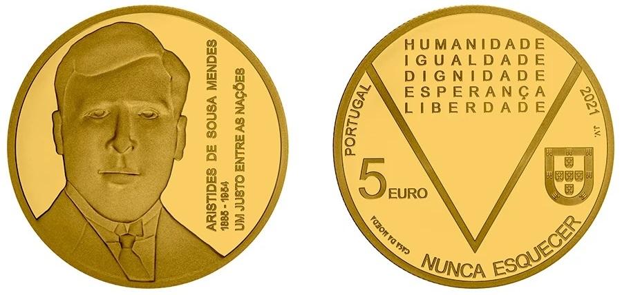 La versione in oro dei 5 euro dedicati dal Portogallo ad Aristides de Sousa Mendes, diplomatico e salvatore di circa 30.000 persone all'inizio della Seconda guerra mondiale