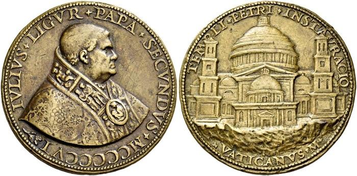 """Medaglia in bronzo (mm 56) di Cristoforo Foppa, """"il Caradosso"""", fusa nel 1506 per Giulio II Della Rovere con al rovescio il progetto originario del Bramante per la Basilica di san Pietro in Vaticano"""