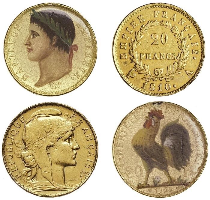 I due marenghi francesi del 1810 e del 1906 decorati con colori e smalti che saranno all'asta da Varesi nell'incanto del 30 settembre e 1° ottobre 2021