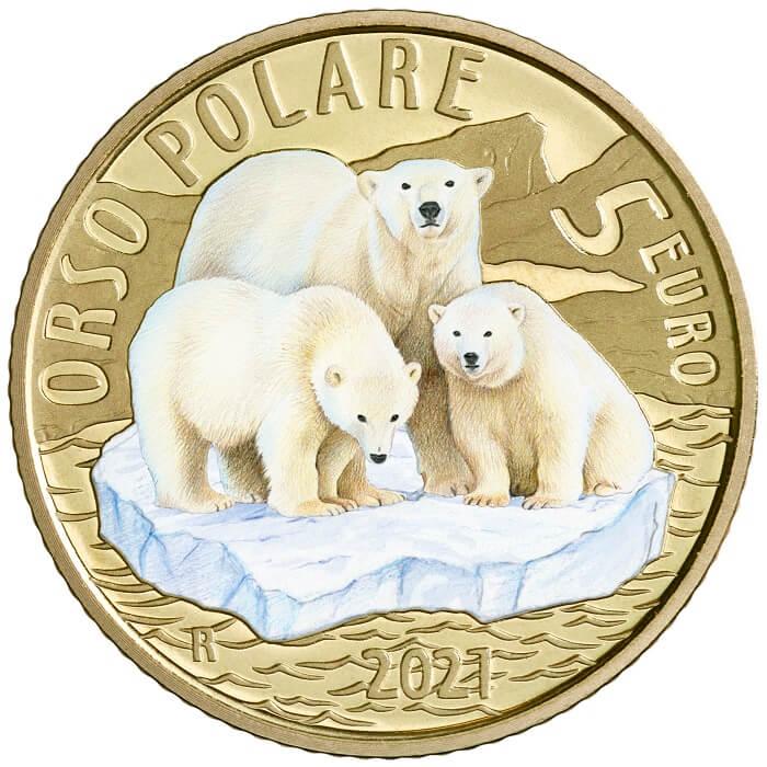 Una famiglia di orsi polari alla deriva su un frammento di banchisa polare è il soggetto disegnato e modellato da Silvia Petrassi per questa 5 euro