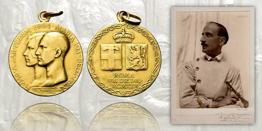 A sinistra, medaglia nuziale in oro per il matrimonio di Umberto di Savoia e Maria Josè del Belgio (oro, mm 32,2 per g 22,7) realizzata nel 1930 su modelli di Edoardo Rubino