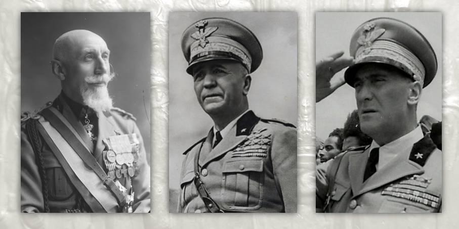 Da sinistra il quadrumviro della Marcia su Roma Emilio De Bono, il maresciallo d'Italia Pietro Badoglio e il generale Rodolfo Graziani. Furono i comandanti della campagna d'Etiopia