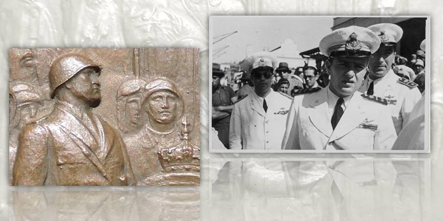 """A destra rispetto a Mussolini, in secondo piano e solo in parte visibile, un aviatore con cuffia e occhialoni da pilota: un omaggio """"occulto"""" a Bruno Mussolini, aviatore e figlio del duce?"""
