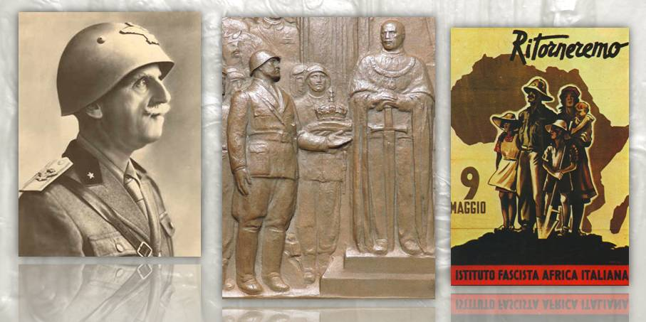 """Un re e imperatore solenne ma """"senz'anima"""" di fronte alla massiccia e marziale figura di Mussolini, al centro della placchetta di Edoardo Rubino: quando la propaganda si fa arte"""