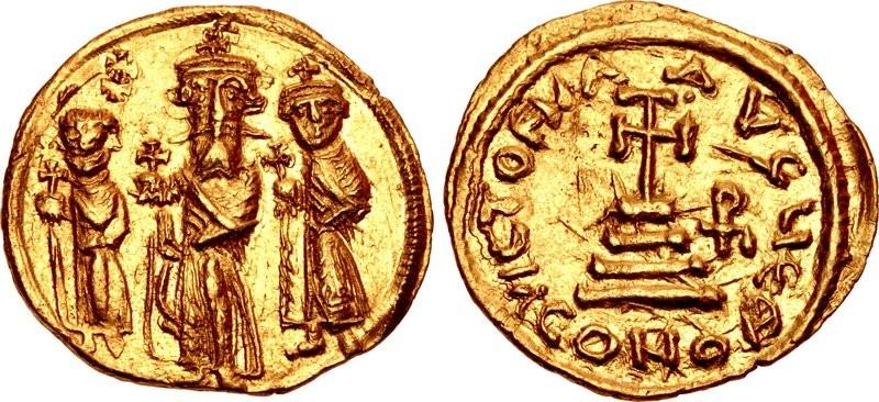 Il solido bizantino dell'imperatore Eraclio fu uno dei modelli preferiti ai quali si ispirarono le prime monete arabe coniate in oro