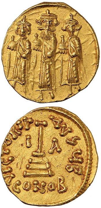 Imitazione araba del solido di Eraclio, su cui la croce cristiana è sostituita da un'asta accantonata da due lettere